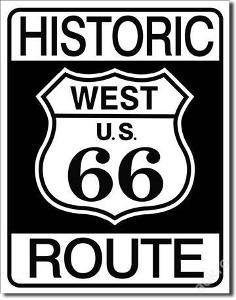 Plechová cedule Route 66 west 40x30cm