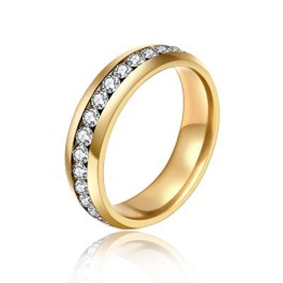 Prsten pozlacený s zirkony 6x18mm