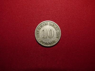 10 Pfennig 1876A, nádherný, sbírkový stav
