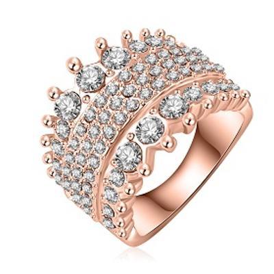Prsten 3x pozlacený 18K zirkony 18mm *376