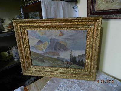Hezký starý obraz Krajina Hory olej plátno signace