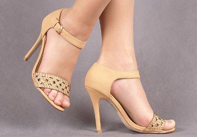 Páskové sandálky beige R41 [E326]
