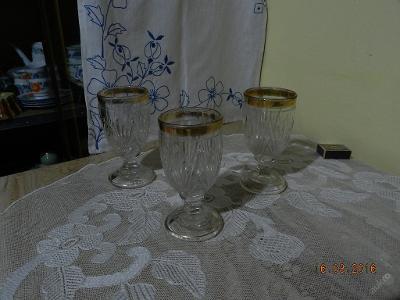Krásné staré zlacené Grogovky sada 3 kusy