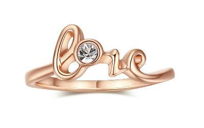 Prsten 18K LOVE 3x pozlacený zirkon 19mm *181