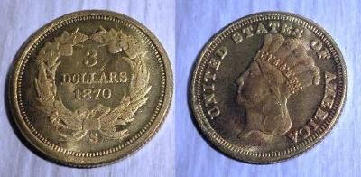 USA 3 dollars 1870 Princezna kopie RR M-0308