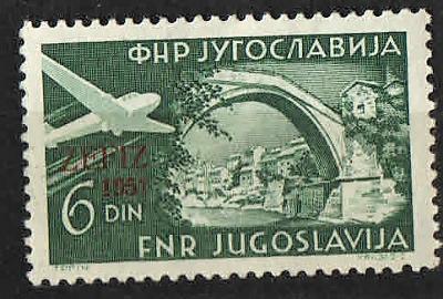 Jugoslávie - č.705 -přetisk ZEFIZ 1951 - letecká