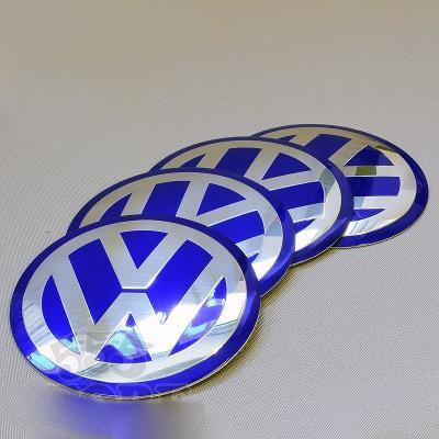 VW středy kol modré nálepky 75mm Golf Passat Pol