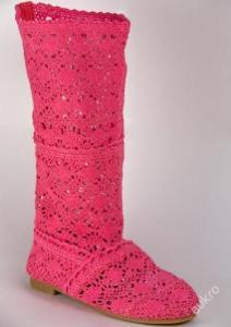 Růžové háčkované krajkové kozačky vel. 39 - 399kč