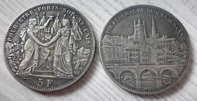 ŠVÝCARSKO 5 franken 1876 Lausanne kopie*145
