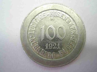 Německo - dráhy - Norimberk - Furth - 100 fenik 1921