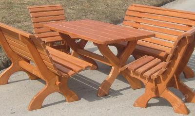 dřevěný zahradní nábytek set Parkowy 1+2+2 drewbo