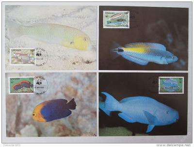 Grenada 1984 Ryby 010 Mi# 1299-1302 Pohlednice WWF