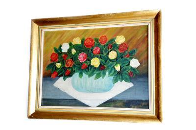 obraz, olej, růže ve váze