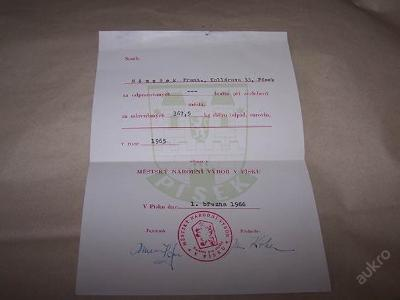 PÍSEK MNV SBĚR SUROVIN r.1965 F. Němeček  /n53/
