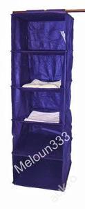 Závěsná police látková do skříně modrá