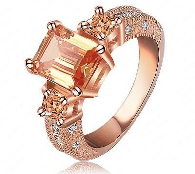 Prsten 18K 3x pozlacený zirkony 19mm *29