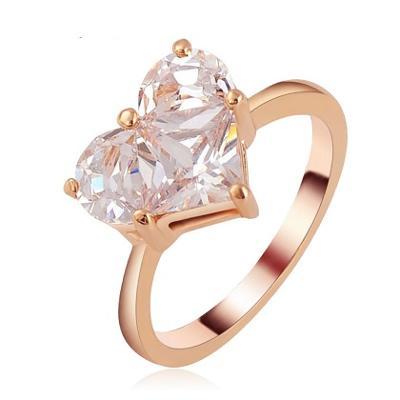 Prsten 18K 3x pozlacený zirkon srdce 19mm *466