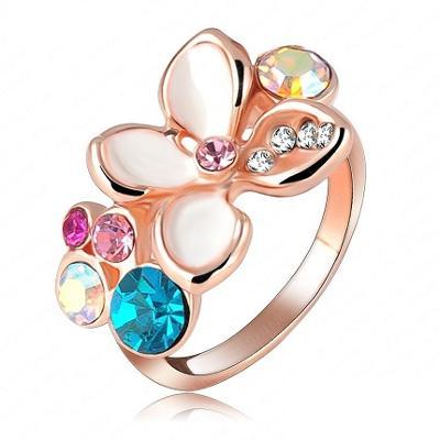 Prsten 18K 3x pozlacený zirkon květy 18mm *467
