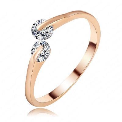 Prsten 18K 3x pozlacený zirkon 18mm *468