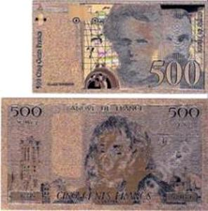 FRANCIE 500 francs menší Zlatá bankovka fólie