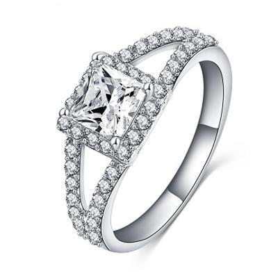 Prsten poplatinovaný zirkon 18mm *471
