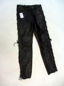 Kožené šněrovací kalhoty vel. 36 - pas:72 cm