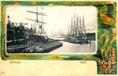 Německo , Hamburg - loď , přístav , koláž