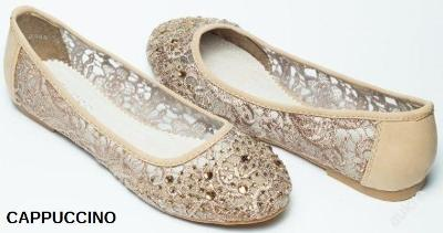 Luxusní krajkové Cappuccino baleríny v.36,37-289kč