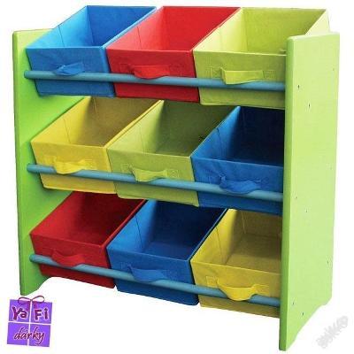 Dětský úložný regál, 9 barevných zásuvek, zelený