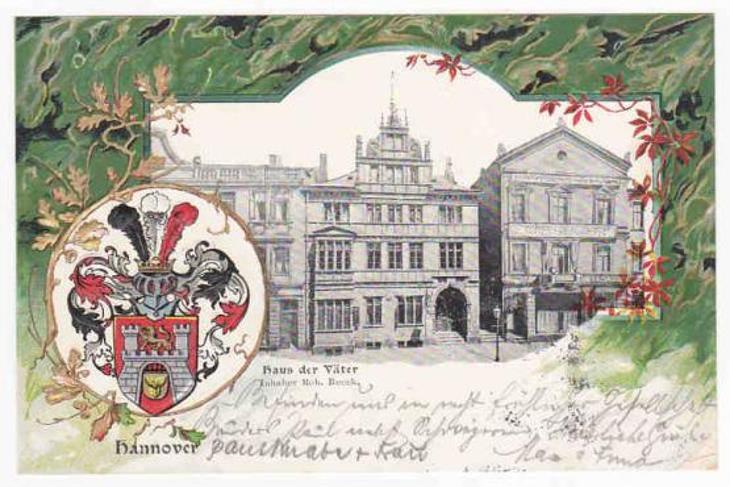 Německo Hannover Haus Vater koláž erb DA 1901 RAR - Pohlednice