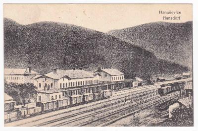Šumperk Hanušovice nádraží vlak 1921 LUX