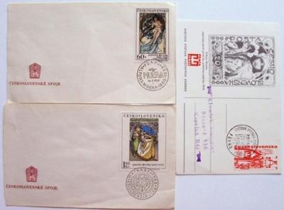 3 x MUCHA návrh první známky podpis razítka známky