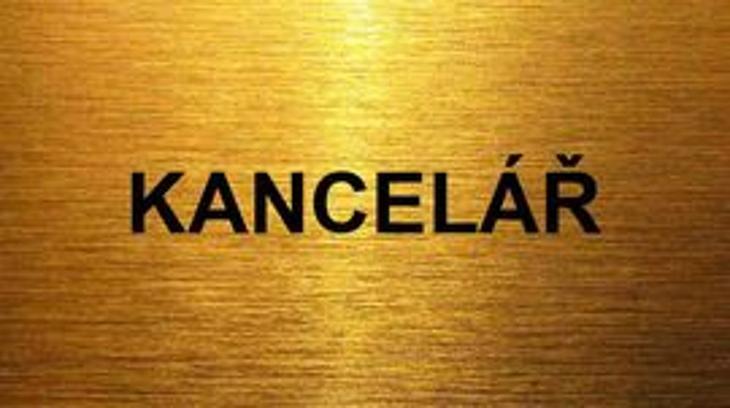 Cedulka 12x6 cm na dveře matně zlatá - kancelář ! - Kancelář