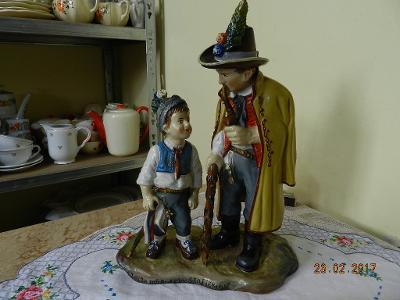 Nádherné staré malované Sousoší Stařec a Chlapec