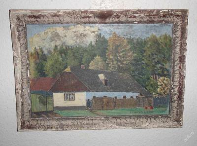 ZAJÍMAVÝ STARÝ OBRAZ - ŽEHUŠICE - G. CINER 1945
