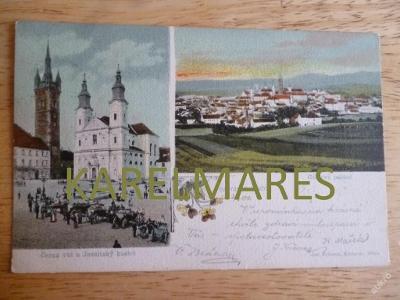 KLATOVY, 1904, KOSTEL, ČERNÁ VĚŽ, LITOGRAFIE