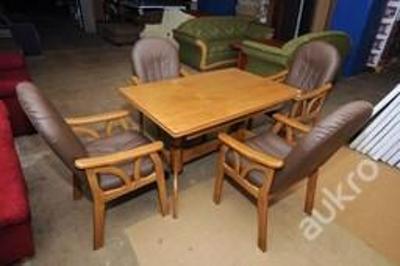 Set jídelní stůl + 4x židle, kůže (8122)
