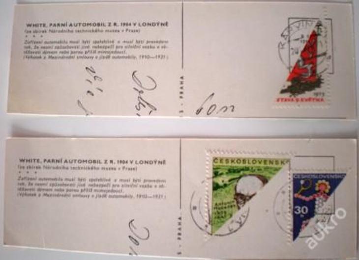 RARITA 3 na půl známky a 3 razítky KARVINÁ 1 pošta - Filatelie