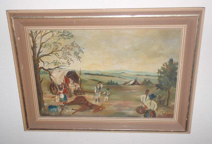 KOČOVNÍCI - MALÍŘ KITLI - 1976 - XL PLÁTNO  - Umění