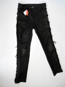 Kožené šněrovací kalhoty obvod pasu: 78 cm (10E)