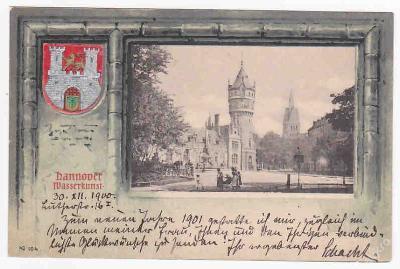 Německo Hannover Wasserkunst koláž erb DA 1900 LUX