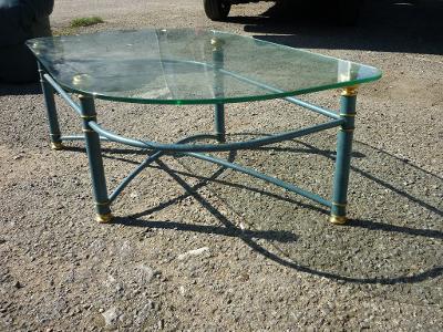 Konferenční stolek sklo-kov