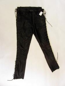 Kožené šněrovací kalhoty - obvod pasu :78cm-(714