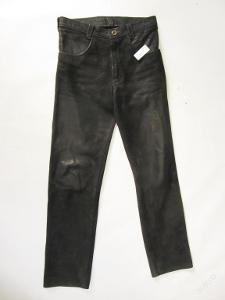 Kožené broušené kalhoty  -  obvod pasu: 80 cm