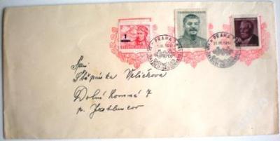 Přetisk LETEC na obálce s razítky SJEZD ŽEN 1950