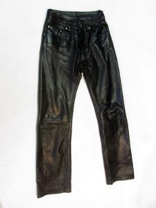 Kožené kalhoty  - obvod pasu: 70 cm (8777)