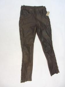 Kožené hnědé šněrovací kalhoty vel. 29 - pas:74