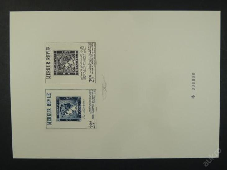příl. tisk Merkur Revue 2008 - Axmann - nuly, sign. - Filatelie