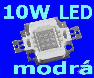 LED čip 10W (!!!) modrá = 75W žárovka !