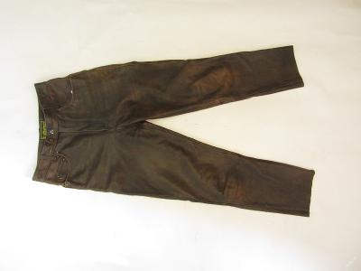 Kožené hnědé kalhoty vel. 29 - pas: 74 cm